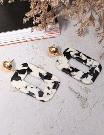 Fashion Black+white Square Shape Decorated Earrings