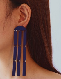 Elegant Blue Tassel Decorated Earrings