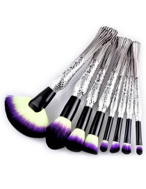 Trendy Yellow+purple Sector Shape Decorated Makeup Brush(8pcs)