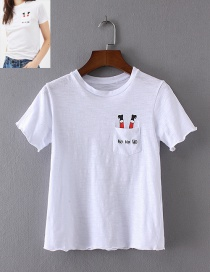 Fashion White Letter Pattern Decorated T-shirt