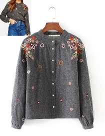 Fashion Gray Embroidery Flowers Decorated Shirt