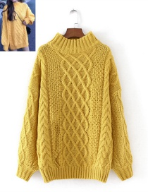 Fashion Yellow Grid Shape Design Pure Color Sweater
