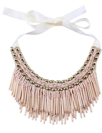 Vintage Beige Beads Decorated Tassel Design Necklace