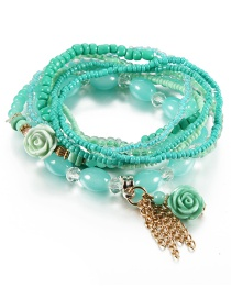Vintage Blue Flower&tassel Decorated Multi-layer Beads Bracelet