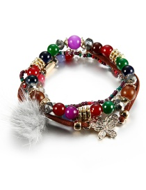 Vintage Multi-color Butterfly Decorated Multi-layer Pom Bracelet