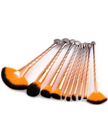 Fashion Orange Sector Shape Decorated Cosmetic Brush(10pcs)
