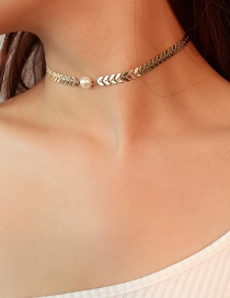 Fashion Gold Color Pearl Decorated V Shape Design Choker