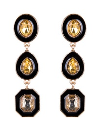 Exaggerated Champagne Geometric Shape Gemstone Decorated Earrings