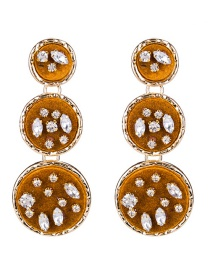Trendy Brown Round Shape Design Long Earrings