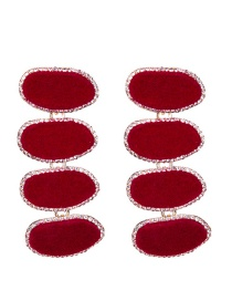 Trendy Red Oval Shape Design Pure Color Long Earrings