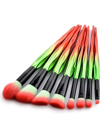 Trendy Red+green Color Matching Decorated Cosmetic Brush(8pcs)