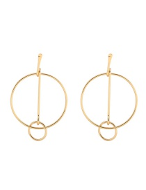 Fashion Gold Color Circualr Ring Decorated Pure Color Earrings