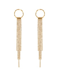 Fashion Gold Color Full Diamond Decorated Long Tassel Earrings