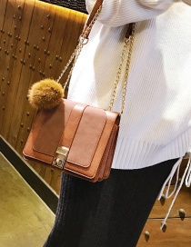 Fashion Brown Fuzzy Ball Decorated Shoulder Bag