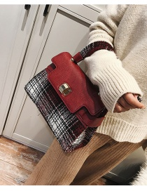 Fashion Red Grid Pattern Decorated Shoulder Bag
