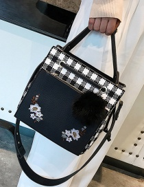 Fashion Black Flower Pattern Decorated Shoulder Bag