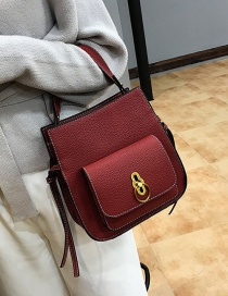 Fashion Red Circular Ring Decorated Shoulder Bag