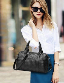 Fashion Black Grid Design Pure Color Shoulder Bag