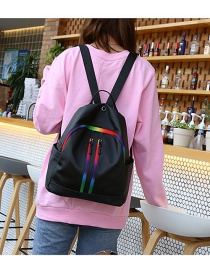 Fashion Black Double Layer Zippers Design Backpack