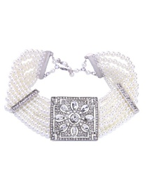 Fashion White Pearls Decorated Multi-layer Choker