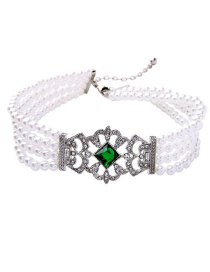 Fashion White+green Pearls Decorated Hollow Out Necklace