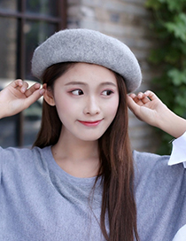 Fashion Beige Pure Color Decorated Berets