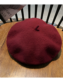 Fashion Claret Red Pure Color Decorated Berets