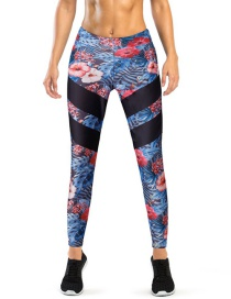 Fashion Multi-color Flower Pattern Decorated Trousers