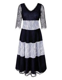 Fashion Navy Stripe Pattern Decorated Dress
