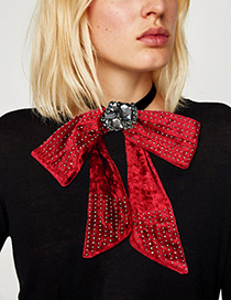 Fashion Red Rivet Decorated Pure Color Bowknot Brooch