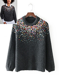 Fashion Gray Paillette Decorated Short Sweater