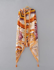 Fashion Yellow Geometric Shape Pattern Decorated Scarf
