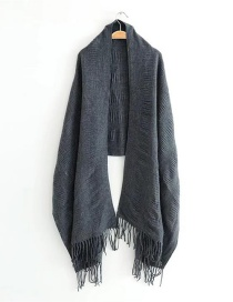 Elegant Gray Pure Color Decorated Tassel Scarf