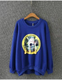 Fashion Sapphire Blue Beauty Pattern Decorated Round Neckline Hoodie