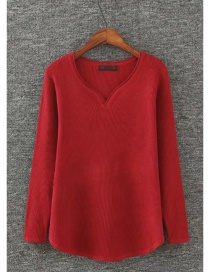 Fashion Red Heart Shape Neckline Design Pure Color Sweater