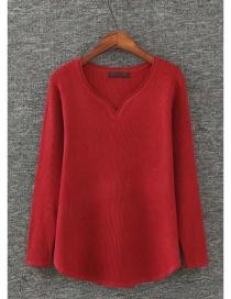 Fashion Red Heart Shape Neckline Design Pure Color Sweater