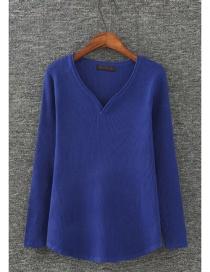 Fashion Sapphire Blue Heart Shape Neckline Design Pure Color Sweater