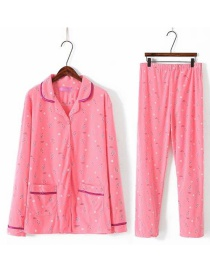 Fashion Pink Flower Pattern Decorate Simple Pajamas