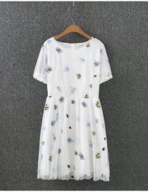 Fashion White Bee Pattern Decorated Double Layer Design Dress