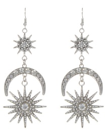 Fashion Silver Color Star&crescent Shape Design Long Earrings