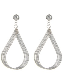 Fashion Silver Color Pure Color Decorated Multi-layer Earrings