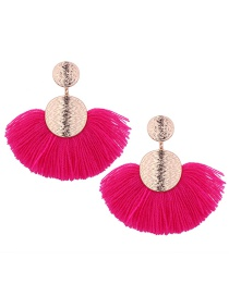 Fashion Plum Red Sector Shape Design Tassel Earrings