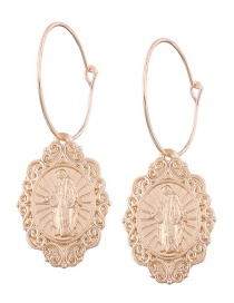 Fashion Gold Color Flower Pattern Decorated Simple Earrings