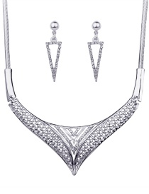 Fashion Silver Color Diamond Decorated Triangle Shape Jewelry Sets