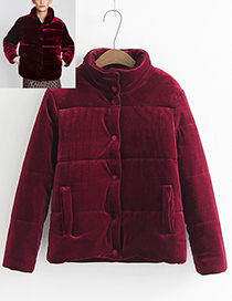 Fashion Claret Red Pure Color Decorated Thicken Padded Clothes
