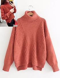 Fashion Red Pure Color Decorated High-neckline Sweater