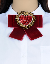 Trendy Claret Red Heart Shape Decorated Bowknot Brooch