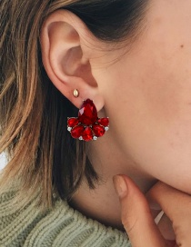 Fashion Red Water Drop Shape Diamond Decorated Earrings