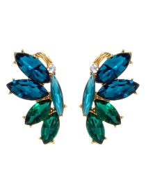 Fashion Blue+green Oval Shape Diamond Decorated Earrings