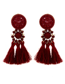 Fashion Claret Red Round Shape Design Tassel Earrings